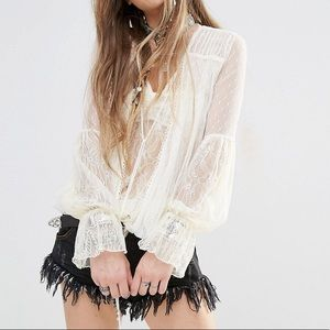 Free People Far Away Long Sleeve Lace Top